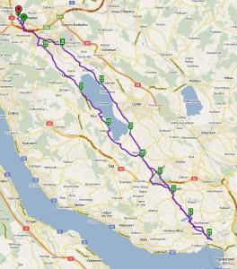 Karte Fahrt Wallisellen - Rapperswil
